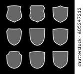 shield shape icons set. gray... | Shutterstock .eps vector #605247212