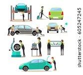 vector set of car service... | Shutterstock .eps vector #605247245