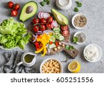 ingredients for spring... | Shutterstock . vector #605251556
