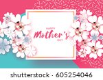 white floral greeting card with ... | Shutterstock .eps vector #605254046