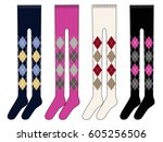 argyle pattern  sweater tights | Shutterstock .eps vector #605256506