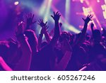 rear view of crowd with arms... | Shutterstock . vector #605267246