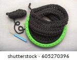 process of knitting a scarf... | Shutterstock . vector #605270396