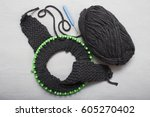 process of knitting hats with... | Shutterstock . vector #605270402