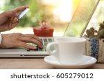 shopping online concept   mini... | Shutterstock . vector #605279012