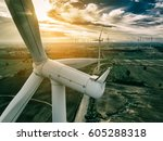 Small photo of Wind turbine from aerial view - Sustainable development, environment friendly, renewable energy concept.