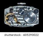 mechanism of wrist watch ... | Shutterstock . vector #605293022