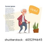old man with a cane and a... | Shutterstock .eps vector #605294645