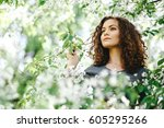 portrait of young woman in ... | Shutterstock . vector #605295266