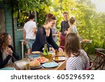 young people having fun on the... | Shutterstock . vector #605296592