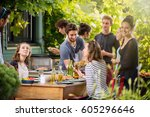 young people having fun on the... | Shutterstock . vector #605296646