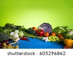 various vegetables diet... | Shutterstock . vector #605296862