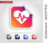 colored icon or button of heart ... | Shutterstock .eps vector #605297942