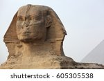 the sphinx at giza and ancient... | Shutterstock . vector #605305538
