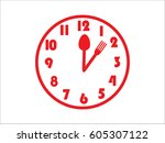 clock  fork  spoon  icon ... | Shutterstock .eps vector #605307122