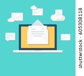 laptop  open email and floating ...   Shutterstock .eps vector #605308118