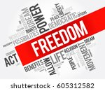 freedom word cloud collage ... | Shutterstock .eps vector #605312582