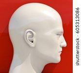 white mannequin dummy head  wig ... | Shutterstock . vector #605313086