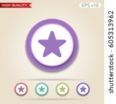 colored icon or button of half... | Shutterstock .eps vector #605313962