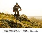 enduro cyclist riding the... | Shutterstock . vector #605316866