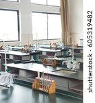 empty chemistry laboratory in a ... | Shutterstock . vector #605319482