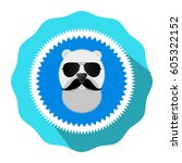 round badge icon. bear abstract ... | Shutterstock .eps vector #605322152