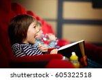 two preschool children  twin... | Shutterstock . vector #605322518