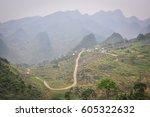 mountain road in ha giang...   Shutterstock . vector #605322632