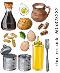 food drawn by a line on a white ... | Shutterstock .eps vector #605323232