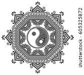 vector henna tatoo mandala. yin ...   Shutterstock .eps vector #605325872