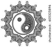vector henna tatoo mandala. yin ... | Shutterstock .eps vector #605325896