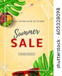 summer sale poster with web... | Shutterstock .eps vector #605328098