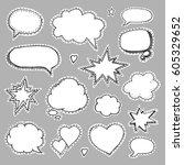 hand drawn set of speech... | Shutterstock .eps vector #605329652