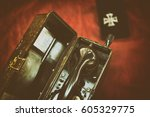 army field telephone next to a... | Shutterstock . vector #605329775