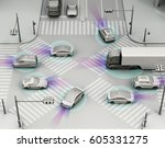 smooth traffic in crossroad.... | Shutterstock . vector #605331275