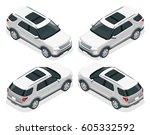 off road white car. modern vip... | Shutterstock . vector #605332592