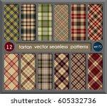set in beige tartan seamless... | Shutterstock .eps vector #605332736