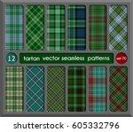 set in green tartan seamless... | Shutterstock .eps vector #605332796