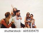group of friends having fun... | Shutterstock . vector #605335475