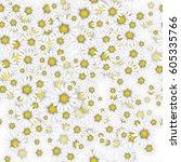 seamless daisy pattern | Shutterstock .eps vector #605335766