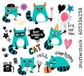 set of cartoon cats character.... | Shutterstock .eps vector #605336258