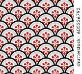 tiled seamless pattern of... | Shutterstock .eps vector #605336792