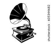 gramophone negative space... | Shutterstock .eps vector #605344682