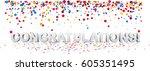 white congratulations 3d... | Shutterstock .eps vector #605351495