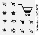 shopping cart icon set isolated ... | Shutterstock .eps vector #605354792
