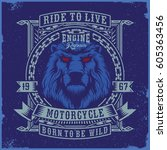 motorcycle typography with a... | Shutterstock .eps vector #605363456