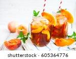 homemade iced lemonade with...   Shutterstock . vector #605364776