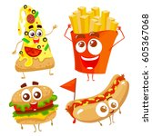 vector funny cartoon characters ... | Shutterstock .eps vector #605367068