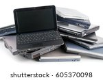 stack of used laptops for...   Shutterstock . vector #605370098