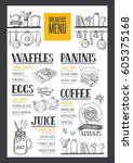 coffee food menu for restaurant ... | Shutterstock .eps vector #605375168